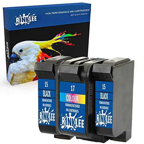 RINKLEE Remanufactured for HP 15 17 XL Ink Cartridge compatible with HP Deskjet 816c 825c 825cvr 825cxi 827 840c 841c 842c 843c 845c 845cse 845cvr 845cxi 848c   2 Black, 1 Tri-Colour