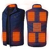 ZYKBB 8 Puestos Chaleco calentado Hombres Mujeres USB Chaqueta con calefacción Calefacción Chaleco Térmico Ropa térmica Chaleco de caza Chaqueta de calefacción de invierno Blac KS-5XL