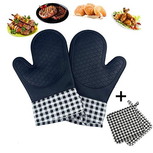 Ealicere Schwarz Ofenhandschuh Hitzebeständige Silikon und Baumwolle 1 Paar und 1 Paar Topflappen, Anti-Rutsch Topfhandschuhe Hitzebeständige Silikon zum Kochen, Backen, Barbecue Isolation Pads