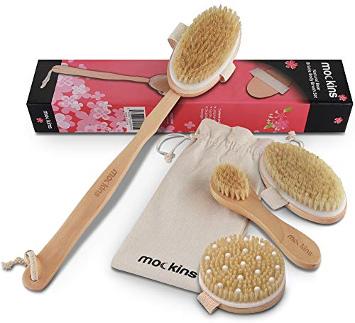 Mockins Natural Boar Bristle Body Brush Set with Detachable Cellulite Massage Brush and Long Wooden Handle for Dry Brushing Perfect Kit to Exfoliate and Get Rid of Cellulite - Gift Set