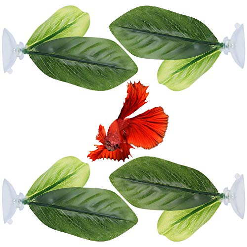 metagio 4 Pieces Betta Bed Leaf Hammock for Betta Fish, Lightweight and Realistic Resting Spot, Safe Artificial Aquarium Plants with Suction Cup for Aquarium Fish Tank Decoration (Double Leaf)