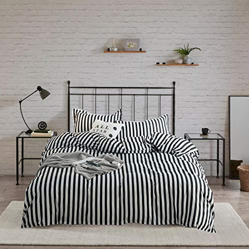 Wellboo Striped Duvet Cover Black and White Stripe Bedding Set Cotton Hotel Collection Dobby Cover Queen Women Men Teens Quilt Cover Vertical Stripe Zebra Lines Bedding Soft Breathable 3 PCS