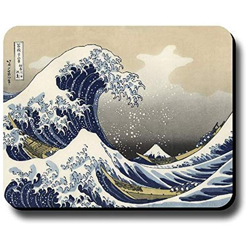 Gaming Mausepad,Office Mauspad,Rutschfeste Unterseite Mousepad,Maus Pad,Dekoratives Mauspad Kunstdruck Gemälde Hokusai Die Große Welle 30X25Cm
