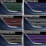 ZYDSD 10 Piezas de decoración Interior del Coche Tiras automático de Gaza La moldura de Coches de Aire Acondicionado Salida de ventilación Parrilla cromada Interior Etiqueta (Color : Plating Purple)