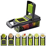 Vegetable Chopper Food Chopper Cutter Onion Slicer Dicer With Storage Container and Non-Skid Base, 7 in 1 Veggie Food Cutter Stainless steel veggie slicer with Easy&Fast Cut (Green, 1)