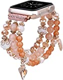 TOROTOP Bracelet Compatible for Apple Watch Band 44mm/42mm Women Girl, Series 5/6 Handmade Fashion Elastic Beaded with Rose Gold Stainless Steel Adapters Strap Compatible for iWatch 4/3/2/1 42mm 44mm