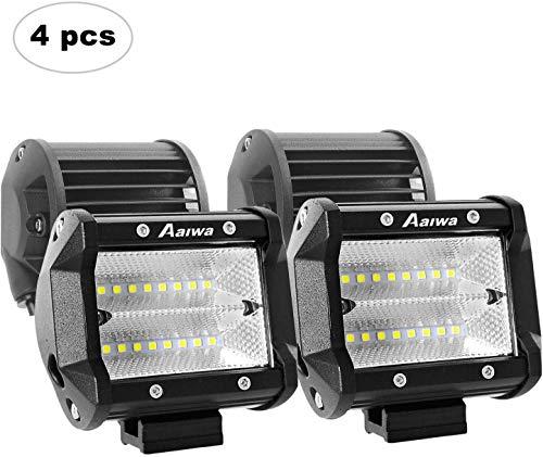AAIWA Arbeitsscheinwerfer 4 Inch 48W 4800LM IP68 Auto Scheinwerfer Offroad Flutlicht Arbeitslicht 12V 24V(4 Stück)