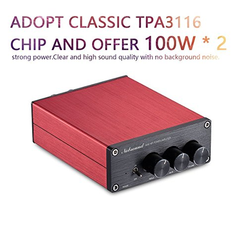 Nobsound Hi-Fi 200-Watt Digital Power Amplifier Stereo Audio Amp Treble Bass Control with Power Supply Verstärker