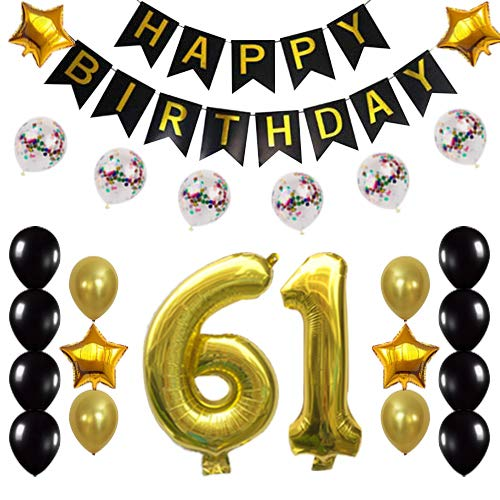 61st Birthday Decorations Party Supplies Happy 61st Birthday Confetti Balloons Banner and 61 Number Sets for 61 Years Old Party(Gold)
