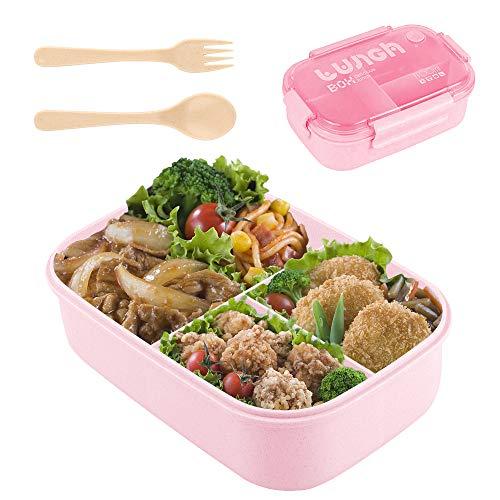 Fiambrera de Seguridad de Trigo Natural de 1100 ml Caja de Bento con Compartimentos, Bento Box para Niños, Fiambreras Bento,Lunch Box y Ideal Food Box para Niños y Adultos Snacks (Pink)