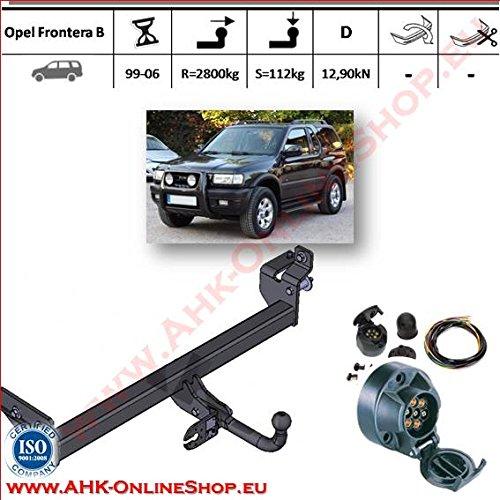 ATTELAGE avec faisceau 7 broches | Opel Frontera B de 1998 à 2006 / crochet «col de cygne» démontable avec outils