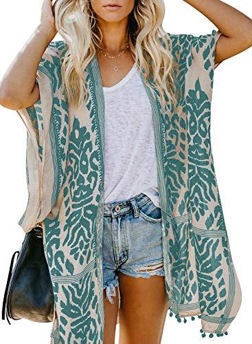 HAPPY SAILED Damen Kurzarm Druck Strand Kimono Strand Cardigan Strand Jacke OneSize (1grün, Einheitsgröße)