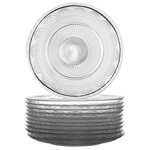 Juego de 12 platos llanos de cristal transparente estilo vintage en relieve, 28 cm de diámetro