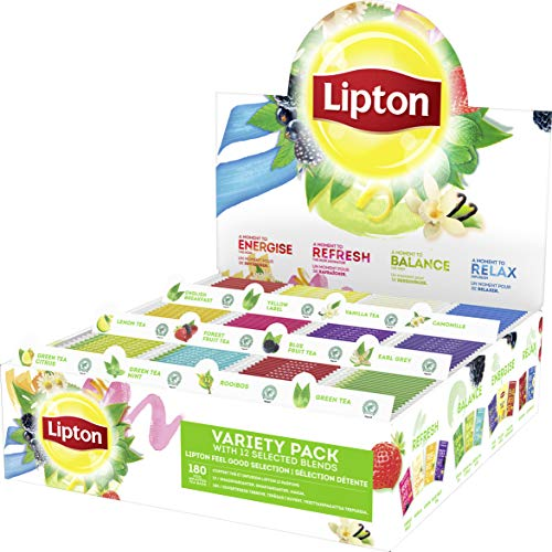 Lipton Coffret Thés et Infusions 12 Parfums, Thé noir, Thé vert, Indusions, Label Rain Forest Alliance, 180 Sachets
