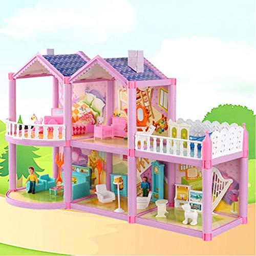Childlike Muebles Casa De Munecas, Doll Casa De Muñecas Villa, DIY Casa De Modelo De Castillo Dulce, Conjunto De Juguetes De Simulación Playset, 59.5x17x38cm