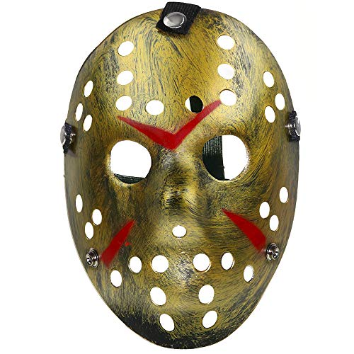 Skeleteen Horror Hockey Costume Mask - Realistic Killer Costume Gold Mask Toys for Adults and Kids