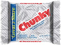 CLASSIC CHUNKY: You'll love the delicious taste of milk chocolate covering raisins and roasted peanuts in a chunky, chewy convenient bar PERFECT FOR SHARING: 12 Giant Chunky bars are individually wrapped, perfect for stocking stuffers, Christmas part...