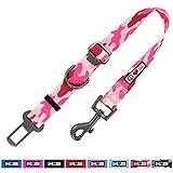 Pawtitas Cinturón de Seguridad de Coche para Perros con Correa de sujeción para Mascotas Color Camuflaje Rosa