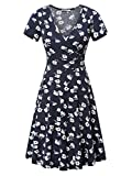 MSBASIC Women's Dress A Line Short Sleeve Deep V Neck Casual Flared Skater Dress Medium Floral-2