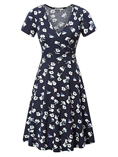 MSBASIC Vintage Dress for Women, Ladies Short Sleeve Deep V Neck Casual Flared Midi Dress X-Large Floral-2