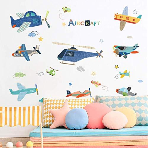 Cartoon Vliegtuig Kinderkamer Jongen Slaapkamer Decoratieve Muurstickers Leuke Kleuterschool Klas Layout Zelfklevende Behang Stickers
