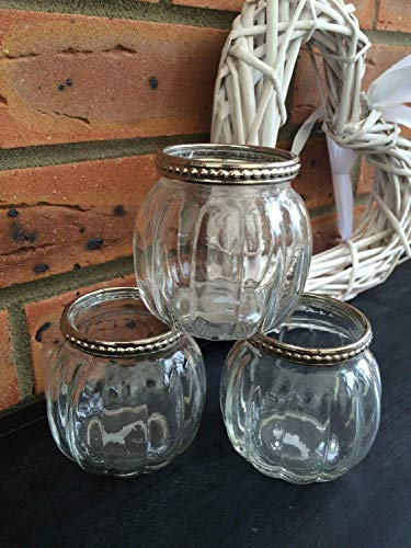 Homes on Trend Glass Tea Light Votive Candle Holders Wedding Table Venue Decorations Centrepiece Settings Vintage Silver Metal Clear Tealight Holder Set of 3