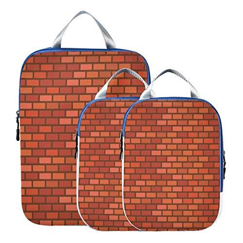 LUPINZ Reisegepäck mit Mauerstein-Aufdruck, 3 Stück