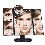 Weichuang - Espejo de maquillaje con luz LED, 22 luces de tocador de 3 flotantes, pantalla táctil de encimera, 10 lupa, espejo pequeño (color: 3 Floding negro)