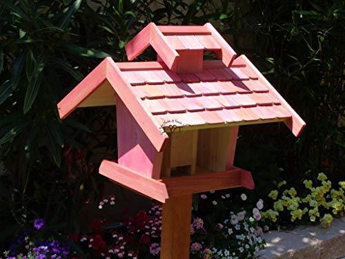 Vogelhaus-futterhaus, BTV-X-VOVIL4-pink001 NEU Premium Vogelhaus, Qualität Schreinerware 100% Massivholz - VOGELFUTTERHAUS MIT FUTTERSCHACHT-Futtersilo Futterstation Farbe pink rosa rosarot süß, MIT