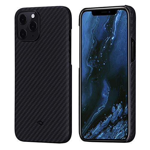 「PITAKA」MagEZ Case iPhone 12 Pro Max 対応 カバー アラミド繊維製 カーボン風 デザイン 極薄(0.85mm) 軽量(17g) 耐衝撃 保護 ケース ワイヤレス充電対応 ミニマリスト シンプル 6.7インチ(黒グレー ツイル柄)