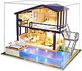 La Vida en Led DIY Casa de Muñecas con Piscina Miniatura Puzzle 3D con Luz y Música (con Caja de Exposición)