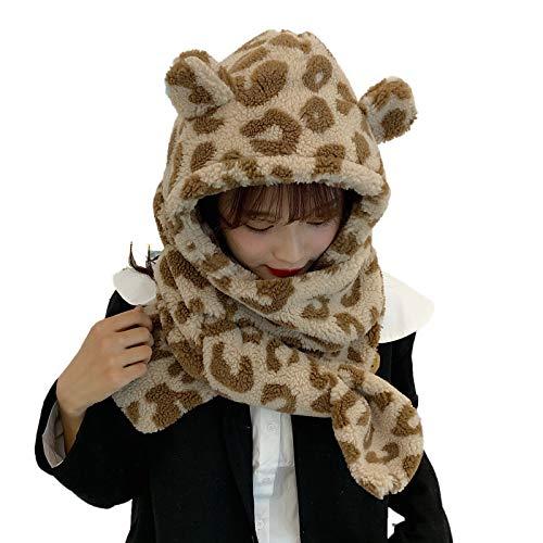 Baiyao 2 en 1 - Conjunto de bufanda de felpa sintética con capucha para el invierno, cálido y esponjoso con orejas de oso y leche, estampado de vaca de peluche, bufanda, calentador de cuello