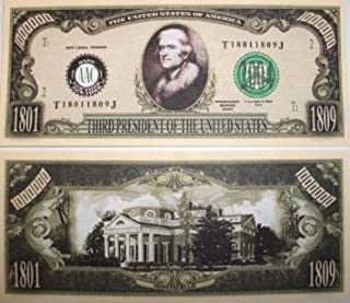 American Art Classics Thomas Jefferson Collectible Million Dollar Bill in Currency Holder