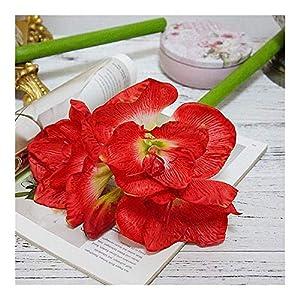 ZHXDXF Lifelike Artificial Amaryllis Flower Branch Fleurs Artificielles for Home Table Wedding Decoration Fake Silk Flowers Hippeastrum Flowers Romantic Wedding Wall Décor/Fresh r