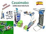 Carro Portasillas Aluminio-Carro porta sillas, sombrillas, nevera. Convertible en mesa. Playa...