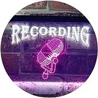 Recording On Air Microphone Studio Dual Color LED看板 ネオンプレート サイン 標識 白色 + 紫 600 x 400mm st6s64-i0206-wp