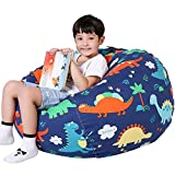 Lukeight Stuffed Animal Storage Bean Bag Chair for Kids, Zipper Storage Bean Bag for Organizing Stuffed Animals, (No Beans) X-Large
