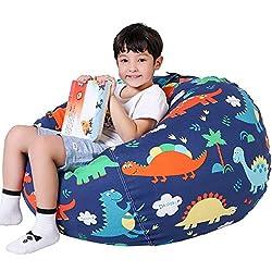 1. Lukeight Stuffed Kids Dinosaur Bean Bag Chair Cover