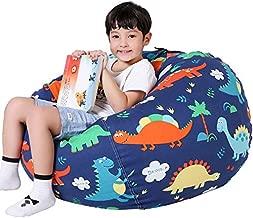 Lukeight Stuffed Animal Storage Bean Bag Chair for Kids, Zipper Storage Bean Bag for Organizing Stuffed Animals, Dinosaur Bean Bag Chair Cover, (No Beans) Large