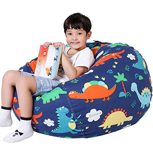 Lukeight Stuffed Animal Storage Bean Bag Chair for Kids, Zipper Storage Bean Bag for Organizing Stuffed Animals, Dinosaur Bean Bag Chair Cover, (No Beans) Large