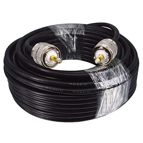 BOOBRIE Cable PL259 Cable Coaxial RG58/U UHF Macho a UHF Macho 10M Cable Antena CB en 128 Trenzado Baja Pérdida Conector UHF Macho PL259 para Radio CB/Radioaficionado/Telecomunicaciones/CCTV