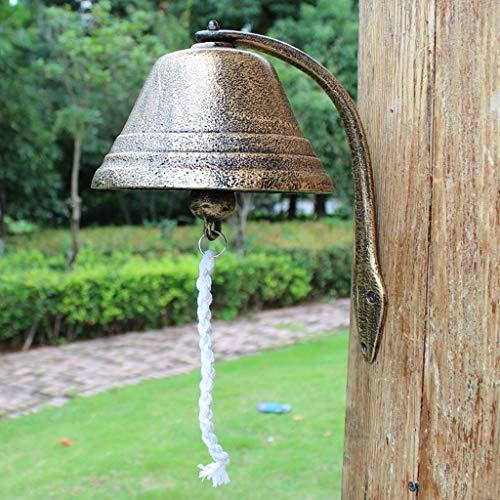 CJH Vintage Gietijzeren Handleiding deurbel Brons Tuin Opknoping Wanddecoratie Smeedijzeren Big Bell Diameter 18cm School Handmatige deurbel