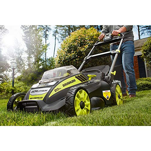 Ryobi. 20' RY40190 40-Volt Brushless Lithium-Ion Cordless Battery Self Propelled Lawn Mower with 5.0...