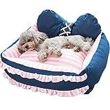 ペットベッド 迷彩柄  洗える 柔らかい 四季用 ペット ハウス クッション ソファー 中小型犬/猫用 簡易 可愛いぐっすり眠れる 洗える ピンクストライプ柄+ブルー S