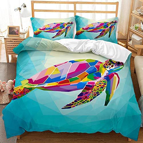 Bedclothes-Blanket Juego de sabanas Cama 90 Juveniles,Conjunto de Tres Conjuntos de Ropa de Cama Digital 3D de lecho bajo el Agua Whale Whale Shark-Seducir_180 * 220cm