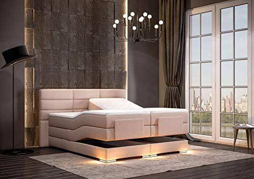HG Royal Estates GmbH Roma Designer Boxspringbett elektrisch inkl. LED-Beleuchtung, Kaltschaum Topper, Bonellfederkernmatratze, H3, Beige Stoff Größe 180 x 200 cm