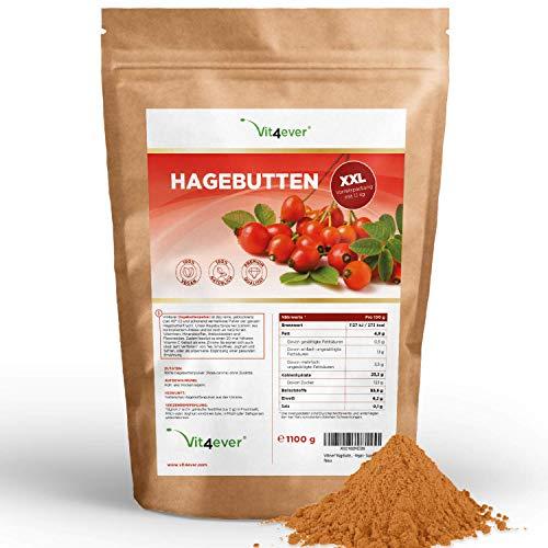 Hagebuttenpulver - 1100 g (1,1 kg) - Kurzes MHD 04/2021 - Ganze Hagebutten gemahlen - Herkunft Ukraine - Laborgeprüft - Rohkostqualität - 100% Rosehip - Vegan - Superfood