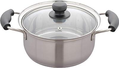 アイリスプラザ 鍋 両手鍋 20cm ガス火/ IH対応 吹きこぼれにくい形状 3層構造 SOPC-20
