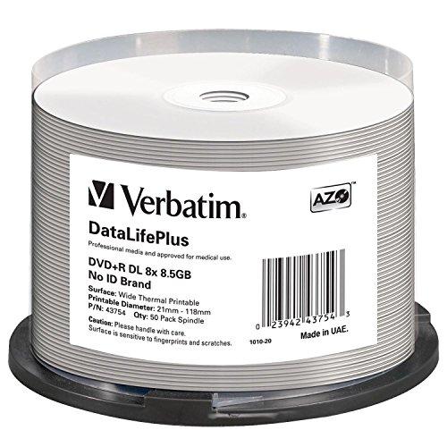 Verbatim DVD+R DL 8.5GB 8X DataLifePlus White Thermal Printable, Hub Printable - 50pk Spindle - 43754