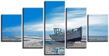 HOMEDCR Papel Tapiz Mural Pintura De La Lona Sala De Estar Decoración 5 Piezas Azul Cielo Playa Hulk Imagen HD Impresión Paisaje Marino Cartel Modular Arte De La Pared